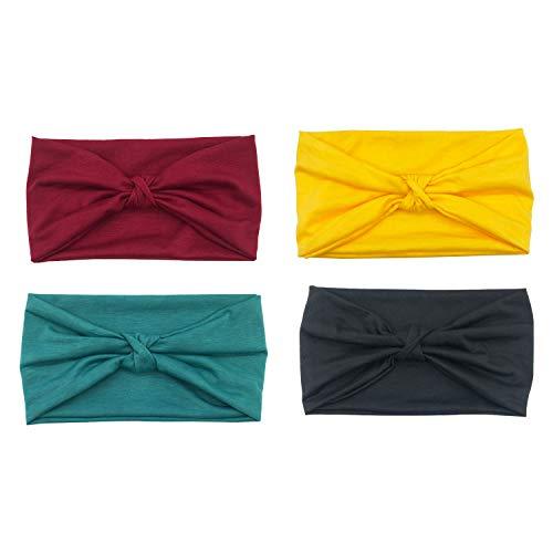 (DRESHOW 4 Pack Turban Headbands for Women Hair Vintage Flower Printed Cross Elastic Head Wrap )