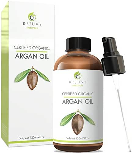 Virgin Organic Argan Oil, 100% Pure, Cold Pressed, USDA Certified Organic by RejuveNaturals, 4oz   Moroccan Natural Luxury Moisturizer for Face, Hair, Skin and Nails