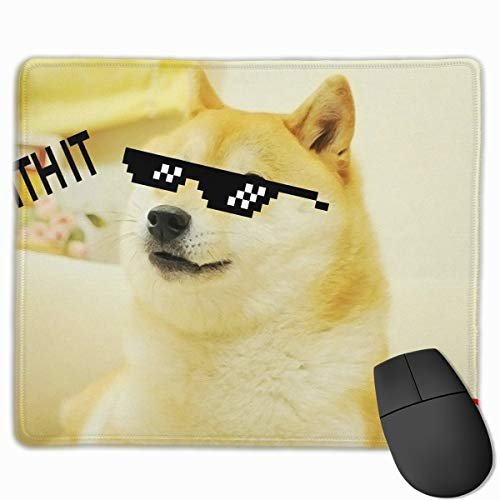 Smooth Mouse Pad Cool Doge with Sunglass Mobile Gaming Mousepad Work Mouse Pad Office Pad]()