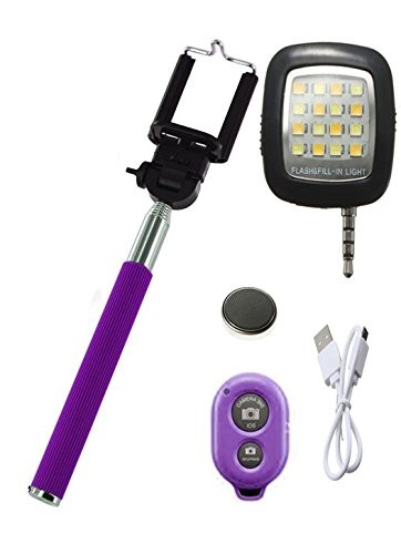 Novo Style Bluetooth Wireless Remote Shutter Selfie Stick   Purple with 16 LED Selfie Night Flash Light Accessory Combo Selfie Sticks