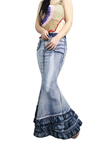 Idopy Women`s Stretchy Tight Fit Flouncing Fishtail Ruffle Denim Skirt US L Asian 2XL