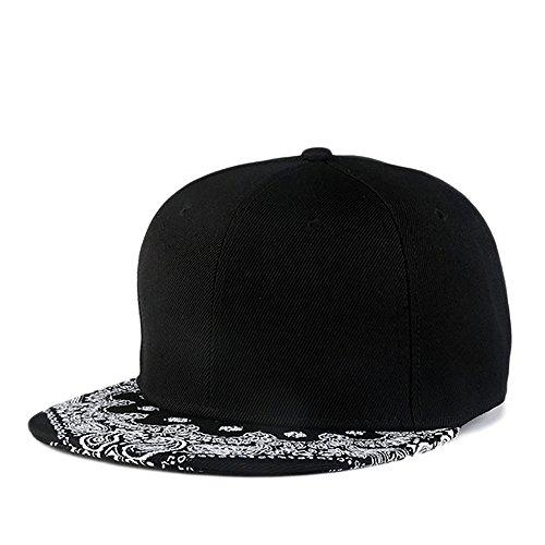 PrettyLife Unisex Paisley Flat Bill Hat Graffiti Print Adjustable Snapback Hiphop Cap