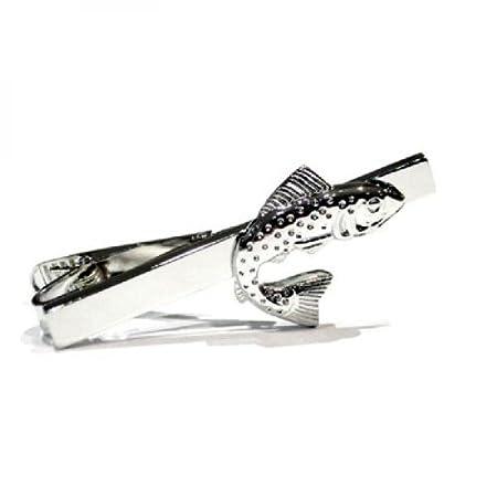 Salmón saltando Clip de corbata (Pin) – chapado en rodio – en caja ...