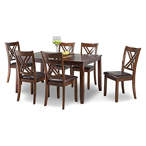 Ella 7 Piece Dining Table With Side Chairs Dark Brown Cherry/Chocolate Brown