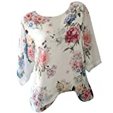 Short Sleeve Tee Blouse for Women,Amiley Womens Floral Print Half Short Sleeve T Shirts Blouses Comfy Casual Tops S-5XL (X-Large, Yellow)