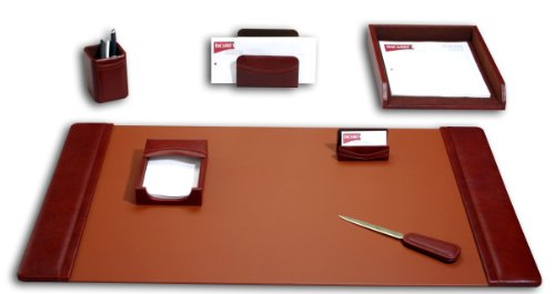 (Dacasso Leather Desk Set, 7-Piece, Mocha)