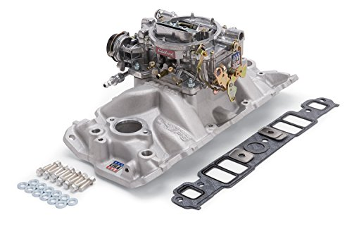 Edelbrock 2021 Single-Quad Manifold And Carb Kit For Performer EPS Manifold w/Performer Series 600cfm Carb Incl. Carb/Fuel Line/Intake Bolts/Gaskets Satin Finish Single-Quad Manifold And Carb Kit