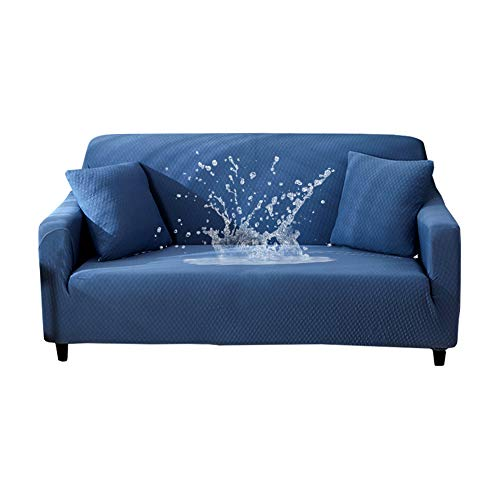 HOTNIU Waterproof Stretch Sofa Couch Covers - 1-Piece Thick Spandex Fabric Loveseat Couch Slipcover - Elastic Universal Fitted Seat Furniture Protector (Blue, Sofa) - Cover Printed Futon