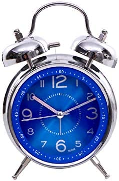 Alarm Clock Sapphire Blue Creative Metal Mechanical Ringing Mute Night Light Student Children Fashion Simple Bedroom Small DELICATEWNN