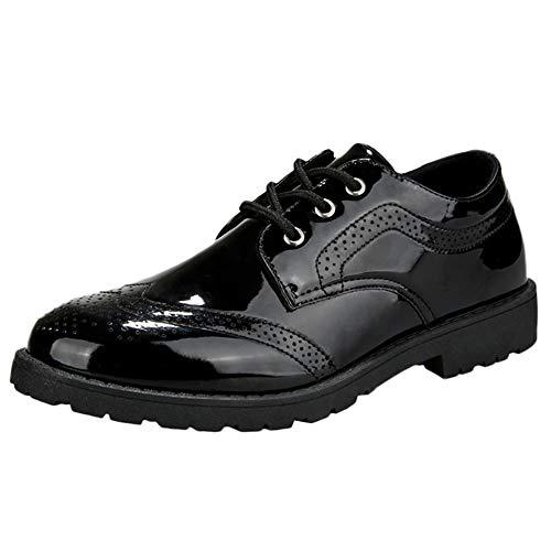 Hunzed Men【Polished Shoe】 Men Casual Leather Lace-Up Shoes Brock Color Shoes (7.5 M US, Black) -