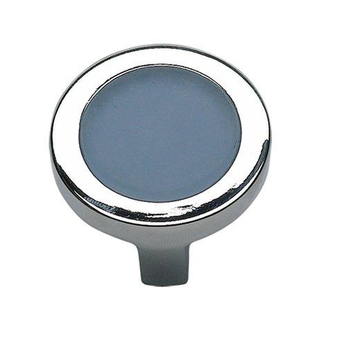 (Atlas Homewares 229-BLU/CH 1-1/4-Inch Spa Blue Round Knob, Polished)