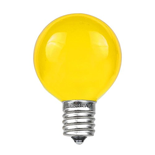 Novelty Lights 25 Pack G50 Outdoor Patio Globe Replacement Bulbs, Yellow, E17/C9 Base, 7 Watt
