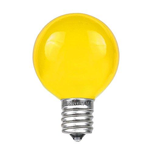 Novelty Lights 25 Pack G50 Outdoor Patio Globe Replacement Bulbs, Yellow, E17/C9 Base, 7 Watt