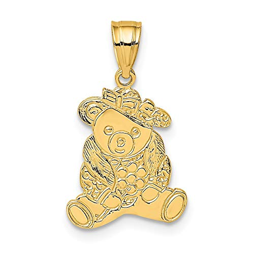 (14k Yellow Gold Dressed Up Teddy Bear Pendant Charm Necklace Animal Baby Fine Jewelry Gifts For Women For Her)