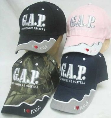 God Answers Prayer G.A.P. Embroidered Ball Cap Hat 814 (Blue)