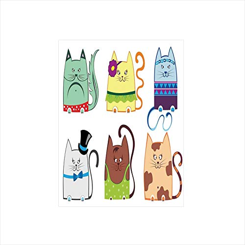 Decorative Privacy Window Film/Cute Cat Illustration Series with Different Fashion Styles Females Trendy Pets Little Paws/No-Glue Self Static Cling for Home Bedroom Bathroom Kitchen Office Decor - Multi Shielding Series