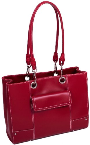 Mcklein USA Serena Ultra-Smooth High-Gloss Faux Leather Laptop Bag, Red (11096)
