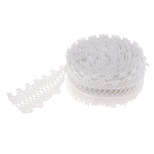 2 Colors - Lace Trim Fan Tail Durable Polyester Eyelet Lace Ribbon 15 Yards | Color - White