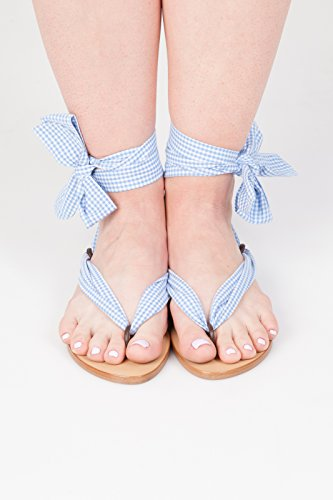 Sandals women summer shoes. Ribbon shoes wedding shoes. Spring beach sandals for girls Blue cell MmtQq5w