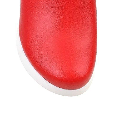 Amoonyfashion Femmes Hauts Talons Bas Haut Assorti Couleur Fermeture À Glissière Bottes Rouge