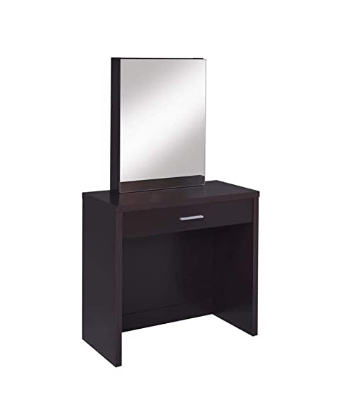 2-piece Vanity Set with Hidden Mirror Storage and Lift-Top Stool Cappuccino and Black