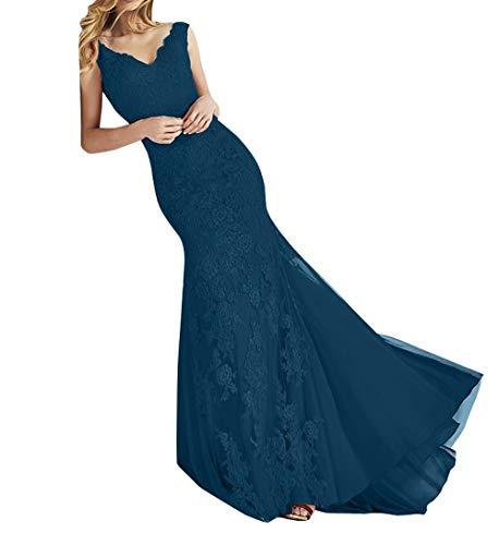 Charmant figurbetont Blau Ballkleider Damen Abendkleider Dunkel Promkleider Lang Meerjungfrau Elegant Rock Abschlussballkleider rIIw0P