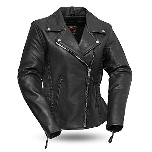 (First Manufacturing Womens Hourglass Leather Scooter Style Motorcycle Jacket (Black, Large))