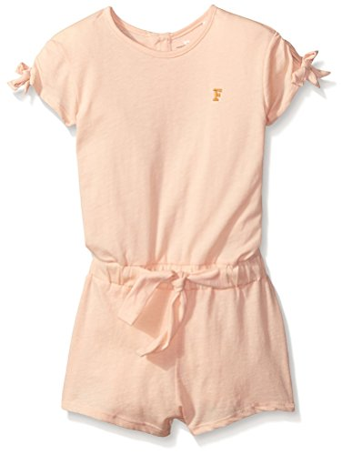 French Connection Girls' Little Kids Bow Sleeve Romper, Apricot Spritz, 4-5Y