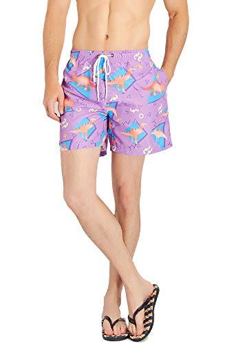 Unisex Boardshorts Summer Beach Board Shorts Dinosaur Swimshorts with Mesh Lining XXL for $<!--$18.96-->