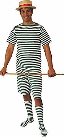Old Fashioned Male Bathing Suit (Green/White, M)