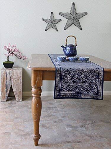 Saffron Marigold Pacific Blue ~ Rustic Navy Blue Ocean Oriental Asian Table Runner ()