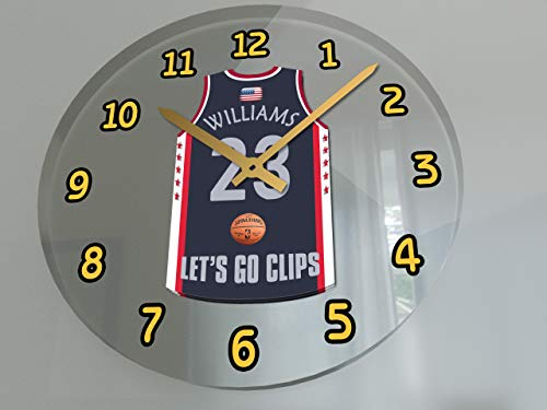 FanPlastic USA Basketball Team Wall Clocks - All N B A Colours Available - Support Your Team !!! (Los Angeles Clippers)