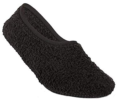 Super Soft Cozy Slippers with Slip-Resistant Bottom Sole (Medium (Womens 7.5-9), Black)
