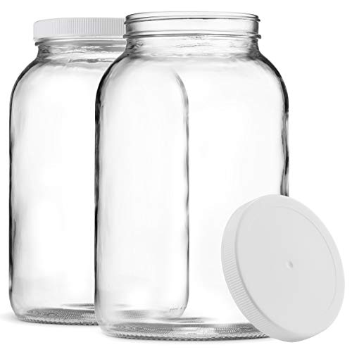 Paksh Novelty 1-Gallon Glass Jar Wide Mouth with Airtight Plastic Lid - USDA Approved BPA-Free Dishwasher Safe Mason Jar for Fermenting, Kombucha, Kefir, Storing and Canning Uses, Clear (2 - Ball Jar Mason 1gallon