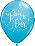 New Baby Boy Stars Qualatex 11 Inch Latex Balloons (Robins Egg Blue, 6 Pack)