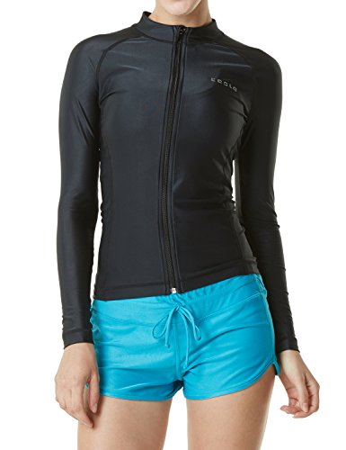 Tesla TM-FSZ01-BLK_Small Women's UPF 50+ Zip Front Long Sleeve Top Rashguard Swimsuit FSZ01 (Twisted Zip)