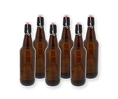 G. Francis Swing Top Bottles w/ Caps - 16.9oz, Amber Glass, Reusable for Homebrew - 6 pack