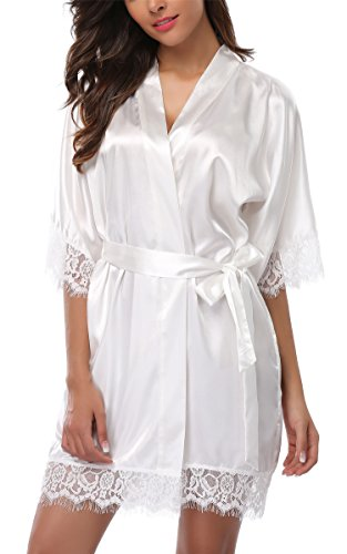 Giova Women's Lace Trim Kimono Robe Nightwear Nightgown Sleepwear Satin Short Robe Cream White Medium