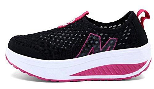 Fashion Walking Black Sneaker Women's Mesh Shoes Running Casual JiYe On Hollow Shoes Slip Outdoor FTqTzZw