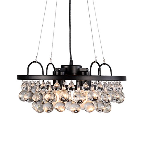 Aero Snail Industrial Antique Metal and Crystal 4-light R...