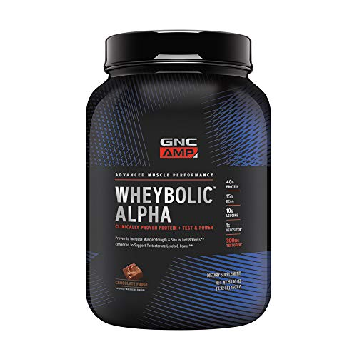 GNC AMP Wheybolic Alpha Whey Protein Powder, Chocolate Fudge, 22 Servings, Contains 40g Protein and 15g BCAA Per Serving (Gnc Whey Protein Vs On Whey Protein)