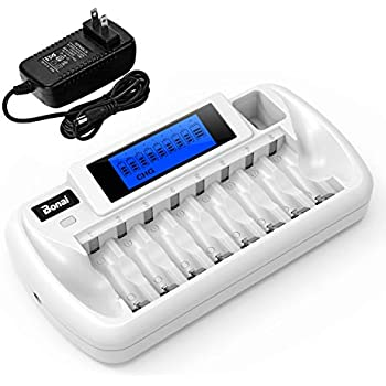 BONAI 8+1 Bay Battery Charger with LCD Display for Rechargeable AA/AAA NiMH/NiCd 9V Rechargeable Batteries