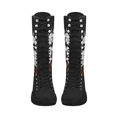 Boots LEINTEREST billiards Women Long LEINTEREST For skull skull Canvas Stn5qYw