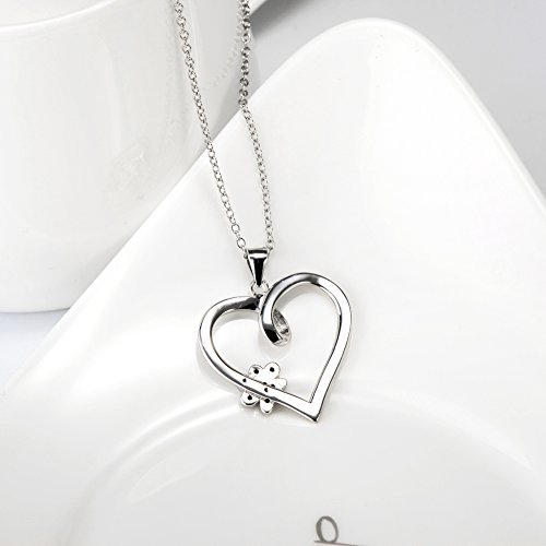 925 Sterling Silver Forever Love Heart Puppy Paw Pendant Necklace, Rolo Chain 18'' by SILVER MOUNTAIN (Image #5)