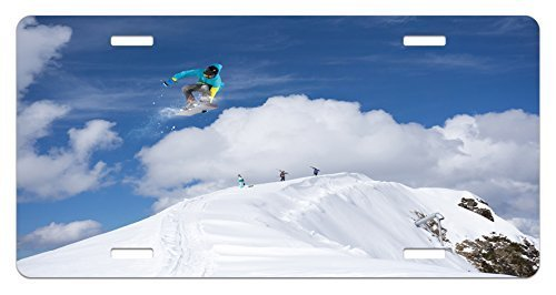 zaeshe3536658 Winter License Plate, Flying Snowboarder on the Mountaintop with Cloudy Sky Extreme Sports Theme Photo, High Gloss Aluminum Novelty Plate, 6 X 12 Inches, Blue White