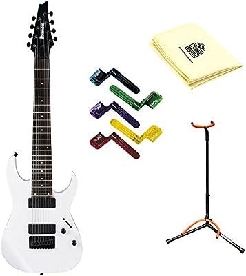 Ibanez rg8wh 8-string guitarra eléctrica con gamuza de limpieza, soporte y pegwinders