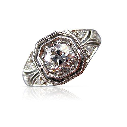 Milano Jewelers .82CT OLD MINE DIAMOND PLATINUM FILIGREE OCTAGON ENGAGEMENT RING #26301 -