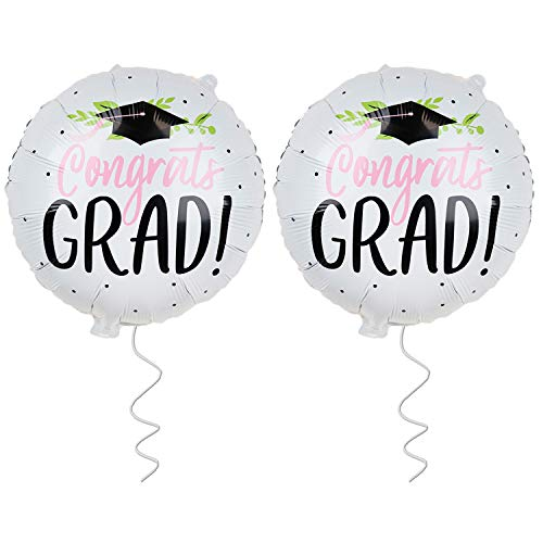 Graduation Balloons for Graduation Party Supplies 2019 - Pack of 2 | Congrats Grad Balloon with Graduation Cap - Congratulations Graduation Balloon for Seniors, High School, College, Pink and Black ()