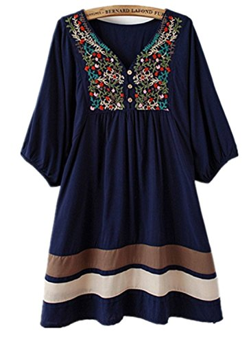 [Efashionmx Womens Mexican Embroidered Dress (Navy Blue)] (70s Ladies Fashion)