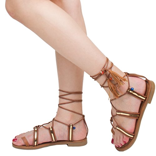 Women's Pom Pom Gypsy Lace Up Strappy Flat Sandals